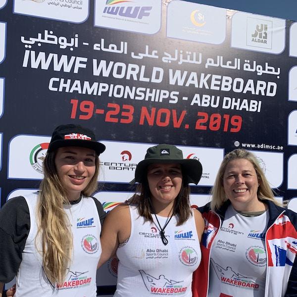 Melissa Lock Sarah Partridge Katie Batchelor at the 2019 Worlds Abu Dhabi