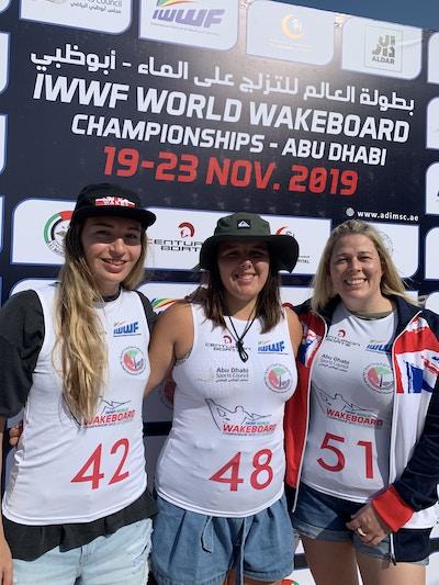 Melissa Lock Sarah Partridge Katie Batchelor at the 2019 Worlds Abu Dhabi - Photo Courtney Angus