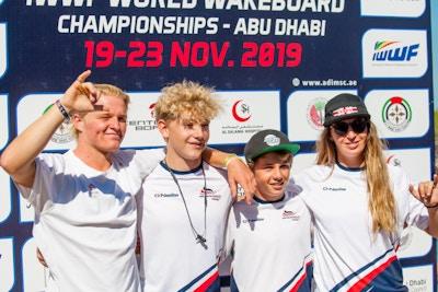 Malibu Team Luca Kidd Travis Beaton Joe Humphries And Katie Batchelor at the 2019 Worlds Abu Dhabi - Photo Mark Osmond