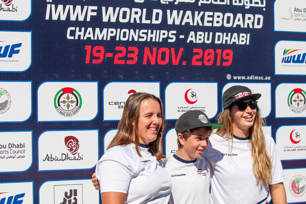 Ultrasport Team Melissa Lock Joe Humphries And Katie Batchelor at the 2019 Worlds Abu Dhabi